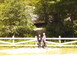 The kids in front of Skull Cave.